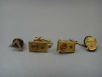 4 NY Telephone Bell System 1/10 10k Gold Service Pins