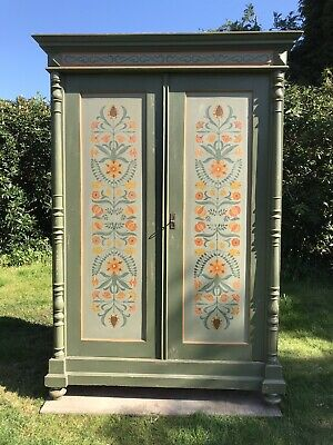 Exceptionally Pretty Antique French Painted Knockdown Wardrobe. Delivery Avail'