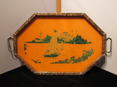 Vintage Italian Scenic Metal & Glass Serving Tray With Handles