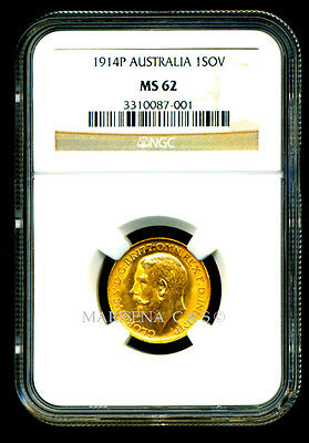 Australia 1914 P Gold Coin Gv Sovereign * Ngc Certified Genuine Ms 62 * Amazing