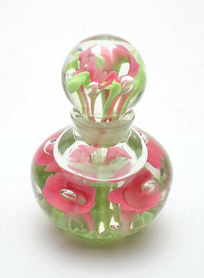 Gorgeous Vintage Maude and Bob St. Clair Floral Art Glass Perfume Bottle