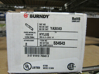 "(2) Burndy YA30A3 Aluminum Compression Lugs 300MCM with two 1/2"" Holes NEW!!"