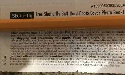 Shutterfly 8x8 Hard Cover Photo Book Code Monopoly Tickets -  Exp 6/30/20