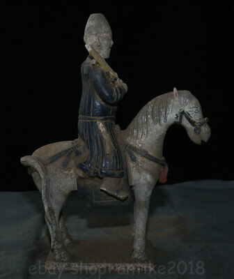 """16"""" Antique China Ming Sancai Pottery soldier Man Hold Ride Horse Statue"""
