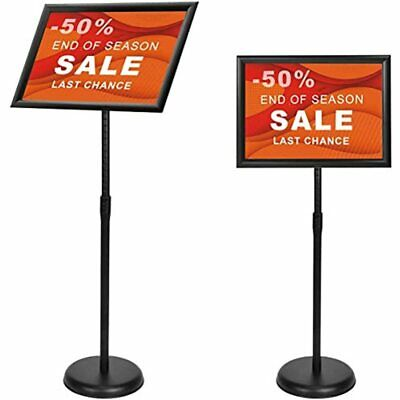 Poster Stand Holder 11x17 Inches - Adjustable Pedestal Sign Aluminum Snap Open
