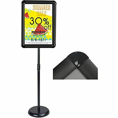 Heavy Duty Pedestal Floor Signs Adjustable Poster Stand Snap-Open Aluminum Frame