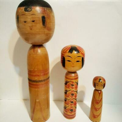 Japanese Wooden Traditional Figurine Dolls Old naruko Kokeshi 4 Pcs Set Vintage