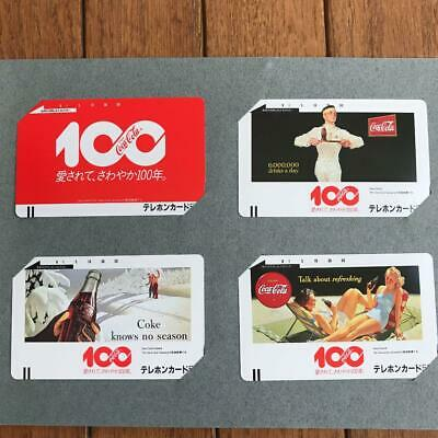 Coca-Cola 100th Anniversary Phone Cards 4 Sheets Set 1986 From Japan Mint F/S