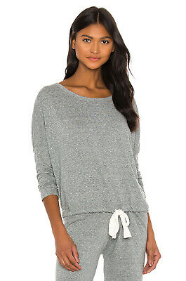 EBERJEY Heather Gray Slouchy Tee loungewear top long sleeve drawstring
