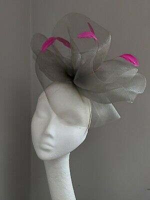 Pewter Grey And Bright Pink Crinoline Fascinator, Wedding And Races