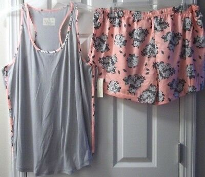 Women's Bobbie Brooks Gray Pink Floral 2Pc Sleep Tank Top & Shorts Size 1X