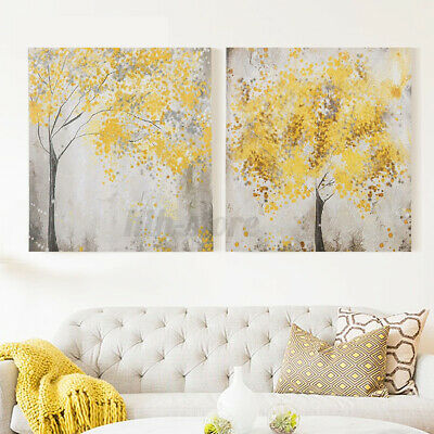 2Pcs 30x30cm Yellow Blossom Flower Trees Canvas Home Decor Printing Picture Art