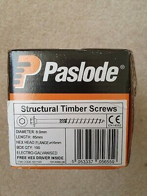 Paslode timber screws 8.0mm Length 85mm QTY100 Hex Head Flange 16mm