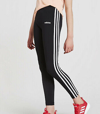 Girls Adidas Essentials 3 Stripes Leggings black ages 5 - 14 NEW LIMITED QTY