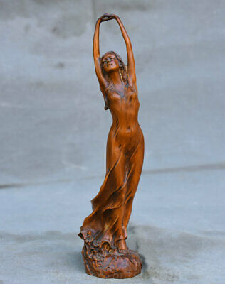 """9"""" Old Chinese Dynasty Boxwood Wood Hand Carved Sexy Girl Beauty Belle Statue"""