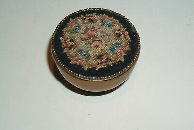 Antique Small Round Pill Box with Tapestry Covered Lid.