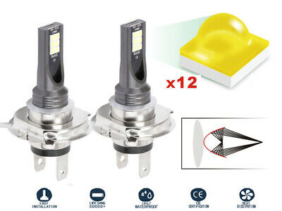 2x MINI LED H4 Kit 200W 6000K Ampoules Auto Voiture Feux Phare Lampe Xénon Blanc
