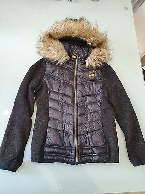 Girls black and pink, hooded Michael Kors jacket 6 years. Good condition