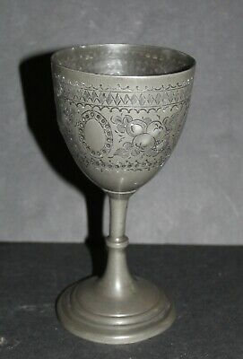Unusual Antique Pewter Goblet / Chalice