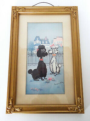 French Poodles Lithograph Margery D'Arcy Gold Frame Mid Century Modern Vintage