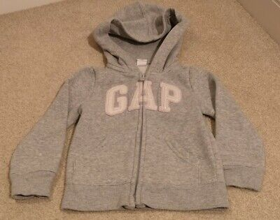 Gap 2 Years Girl Hoodie Grey Pink Silver Sparkle Logo Zipper