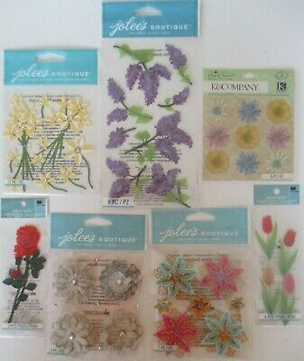 JOLEE/'S BOUTIQUE TULIP FLOWERS COLORFUL 4 PC STICKERS SCRAPBOOK CRAFT OUTDOOR