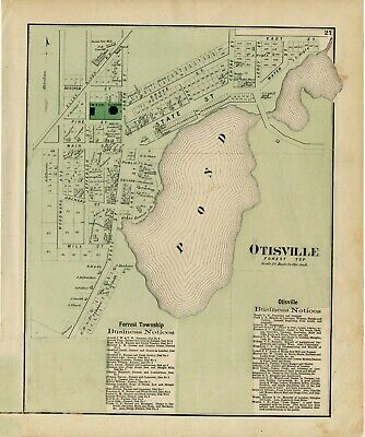 Antique 1873 Map of Otisville, Michigan, Forest Township of Genesee County