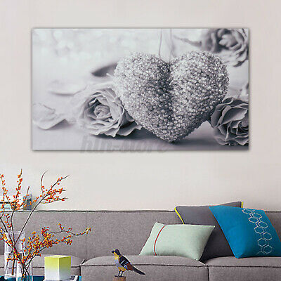 UK Grey Heart Rose Canvas Wall Painting Picture Home Decor Frameless