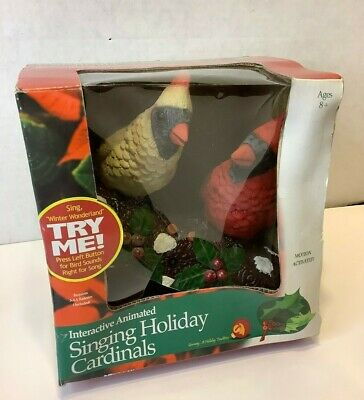 GEMMY 2000 Animated Singing Chirping CARDINALS Red Birds Christmas Motion
