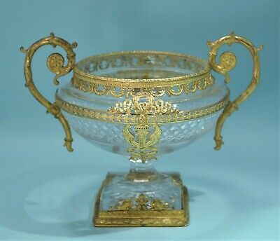 French Baccarat Cut Glass Gilt Bronze Mounted Footed Bowl Circa 1900
