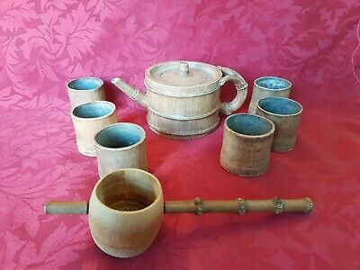 Chinese Yixing Yellow Clay Bamboo Teapot Six Cups &  Bamboo Strainer