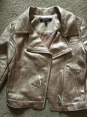 Dkny Girls Leather Jacket-Size Age 5Yrs Metallic Light Pink