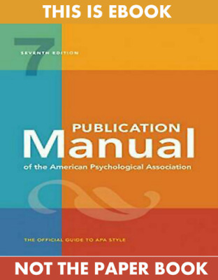 Publication Manual of the American Psychological... (P*D*F) 7th Edition 2020🔥