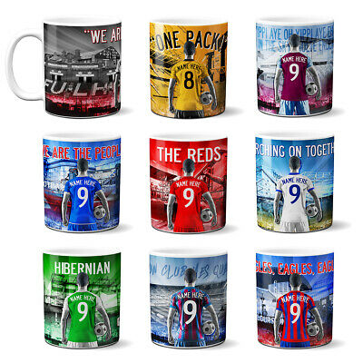 Personalised Football Mug Cup Retro Team Fan Supporter His Birthday Dad Gift AF