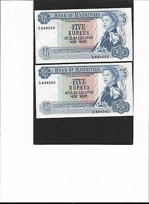 Mauritius 1967 RsRs5. Pair 2 Consecutive Serial Numbers.