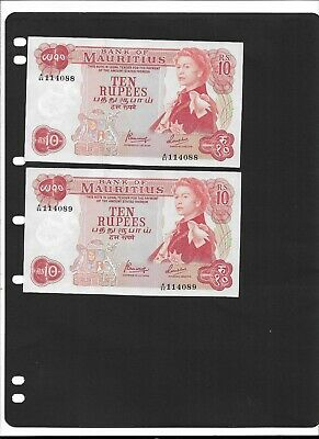 Mauritius 1967 RsRs10. 2 Consecutive Serial Numbers. UNCIRCULATED cobdition
