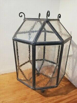 Antique octagonal leaded glass porch / hall lantern light shade [C365]