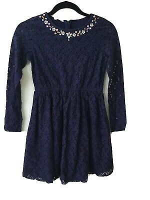 Bnwt Girls Monsoon Navy Sequin And Beaded Lined Dress Aged 11/12 Years
