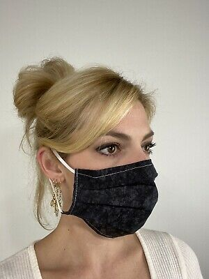 Black Tie Dye Cotton Face Mask Handmade Fabric Washable Reusable wire nose Reuse