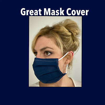 Navy Blue Cotton Face Mask Handmade Fabric Washable Reusable wire nose Reuse