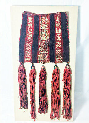 Certified Large Inca Empire Coca Bag with Red Tassels -  1200AD to 1500AD