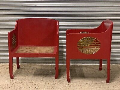 Superb Pair Of Vintage Large Oriental Chinese Red Lacquered Rattan Seat Chairs