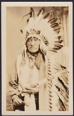 Native American Indian RPPC Sioux Chief White Bull Photograph AZO Post Card
