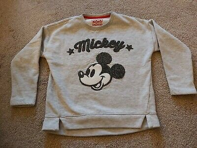 Girls Jumper Crew Neck Sweater Grey Ages 7-12 Mickey Mouse Disney