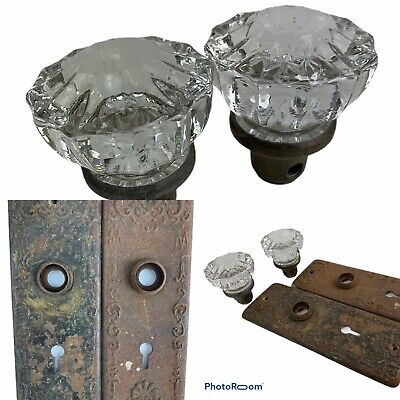 Antique Crystal Glass 12 Point Rosette 2 Door Knobs With 2 Back Plates