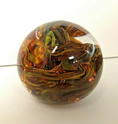 Beautiful Multi Color Swirl Ribbon Art Glass Sphere Paperweight Suspended Bubble