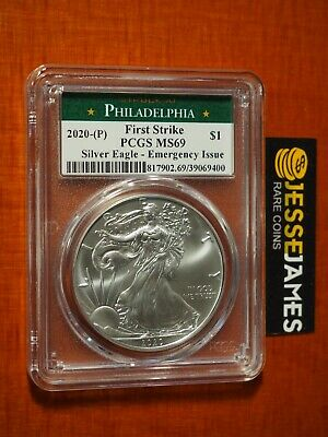 2020 (P) Silver Eagle Pcgs Ms69 Fs Emergency Issue Struck At Philadelphia Label