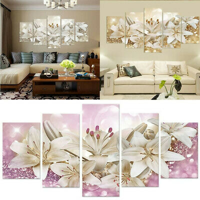5 Pieces Wall Art Canvas Painting Hanging Home Decor Flower Crafts Home Decor