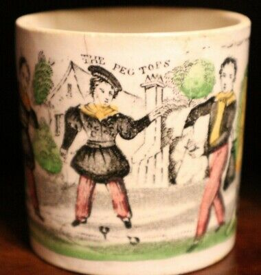 THE PEG TOPS Antique Staffordshire Transferware Child's Game Mug Toy Dredel