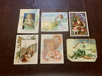 Antique Lion Coffee Cards Green Suit Santa Claus Christmas More Woolson Spice x6